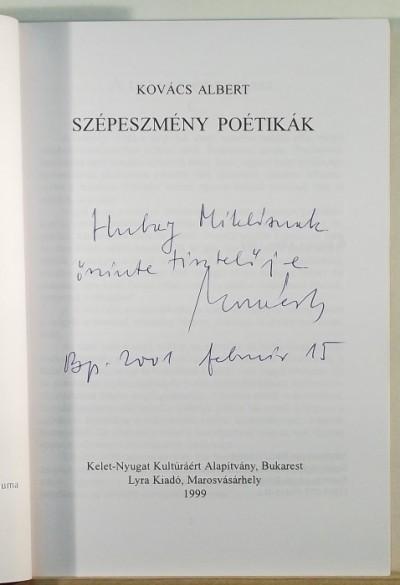 Kovács Albert - Szépeszmény poétikák